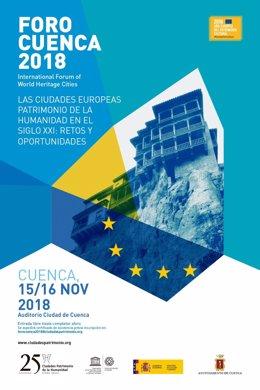 Cartel del foro 'Las ciudades europeas Patrimonio de la Humanidad del siglo XXI'