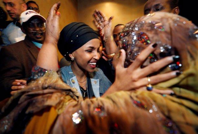 La congresista musulmana Ilhan Omar tras ganar su escaño en las Midterms