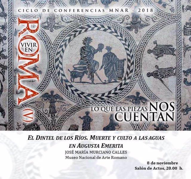 Cartel de una conferencia en el Museo de Arte Romano de Mérida