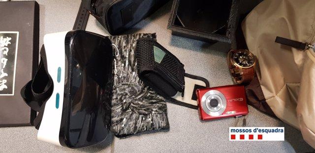 Objectes robats per lladres a Sant Celoni (Barcelona)