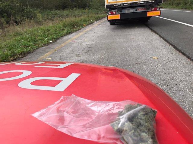 Droga encontrada por la Policía Foral al camionero francés
