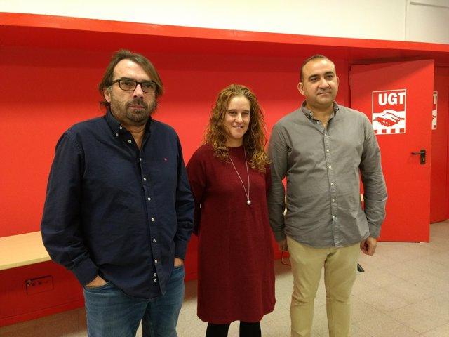 Ros (UGT), Recuero (Usoc) i Pacheco (CC.OO.)