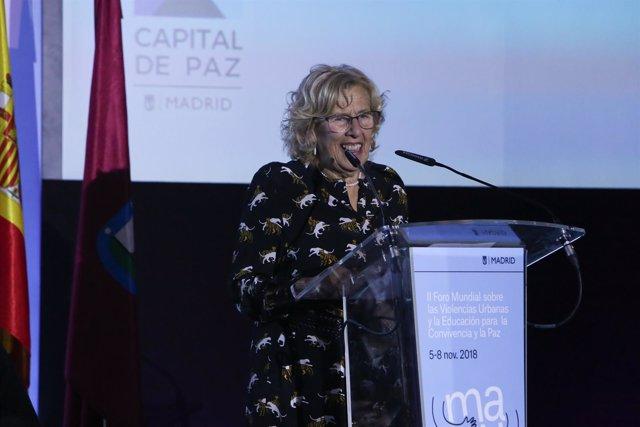 La alcaldesa de Madrid, Manuela Carmena, en la inauguración