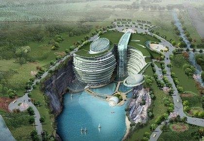 China inaugurará un hotel subterráneo construido en la cantera de una montaña cuyas habitaciones estarán bajo el agua
