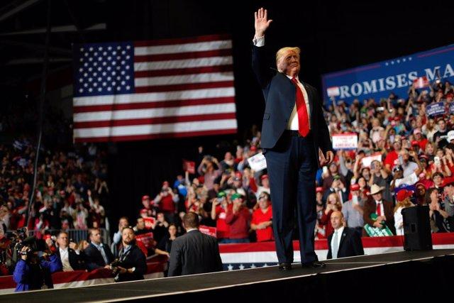 Donald Trump en un acto de campaña
