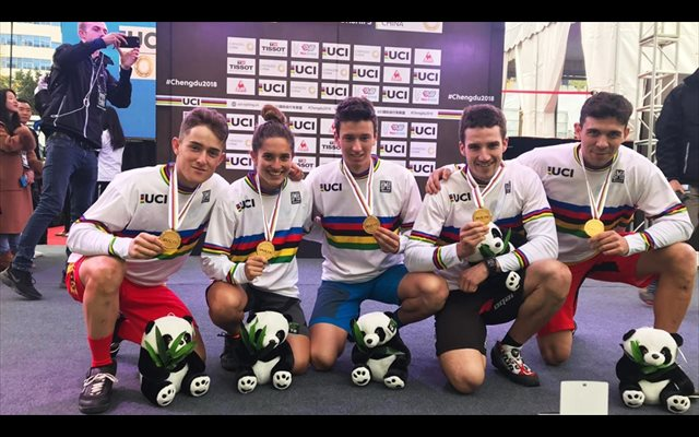 La selección española consigue el oro en trial por equipos en el Mundial de Ciclismo Urbano