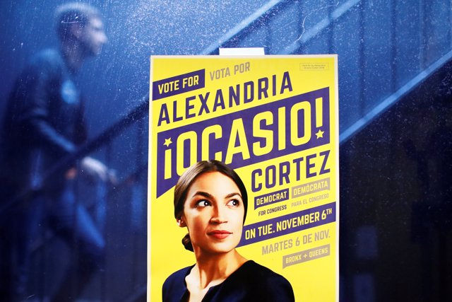 A poster for Democratic Congressional candidate Alexandria Ocasio-Cortez is seen