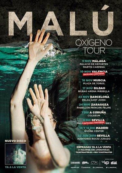 Malú abre este viernes en Málaga su gira 'Oxígeno Tour'