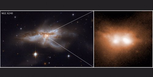Las fases finales de la fusión de galaxias y sus agujeros negros