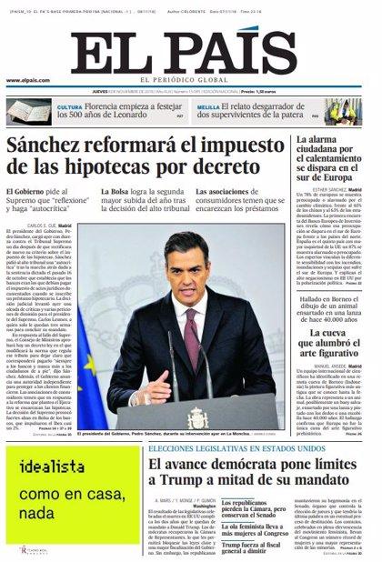 Las portadas de los periódicos del jueves 8 de noviembre del 2018