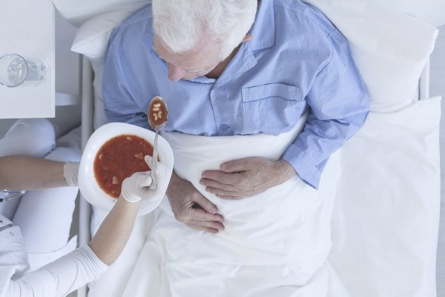Anciano, comida, hospital, comer,