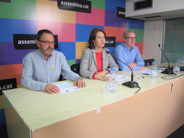 Los miembros de la ANC J.Vilella, E.Paluzie y D.Fernández