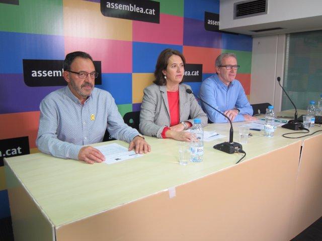 Els membres de l'ANC J.Vilella, I.Paluzie i D.Fernández