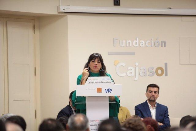 Teresa Rodríguez y Antonio Maíllo, en los Desayunos de Europa Press