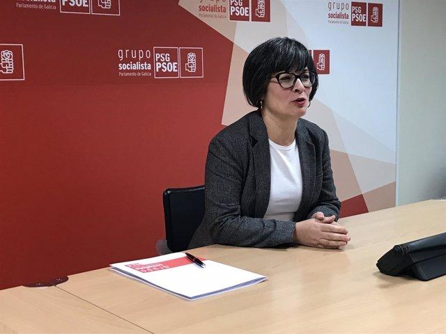 La viceportavoz parlamentaria del PSdeG, Patricia Vilán, en rueda de prensa