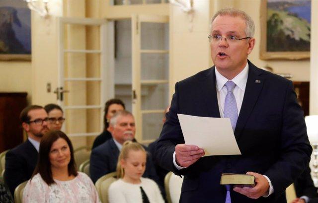 Scott Morrison en su toma de posesión como primer ministro