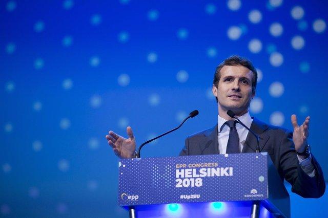 El presidente del PP, Pablo Casado, en la cumbre del PPE en Helsinki
