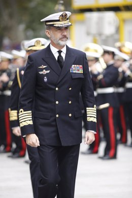 El Rey Felipe VI preside una reunión de trabajo en el Estado Mayor de la Armada