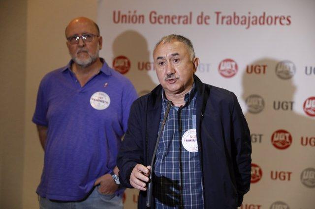 Pepe Álvarez interviene en una asamblea de delegados de UGT en Madrid