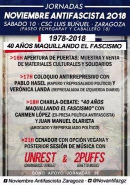 Carte  Jornadas Noviembre Antifascista en Centro Luis Buñuel de Zaragoza