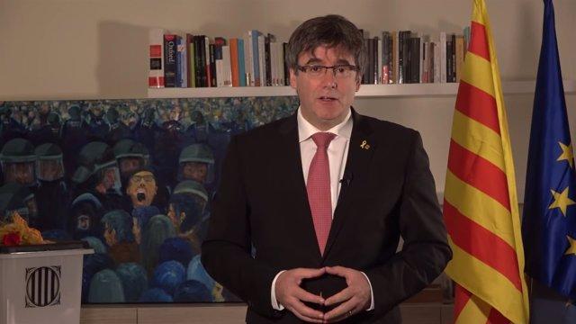 Declaración del expresidente Carles Puigdemont por el aniversario del 1-O
