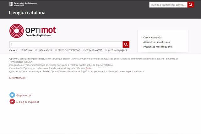 Pàgina web d'Optimot