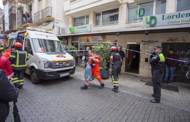Imagen de los medios desplegados con motivo del accidente laboral en Huelva.