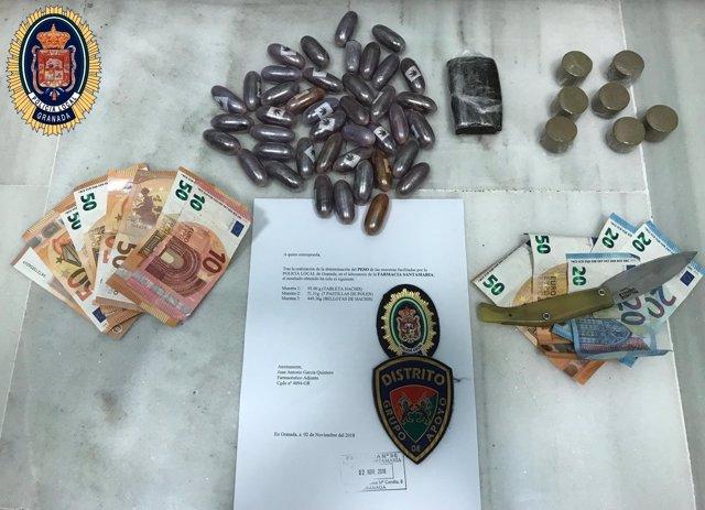 Material incautado en operación contra la droga en la zona sur