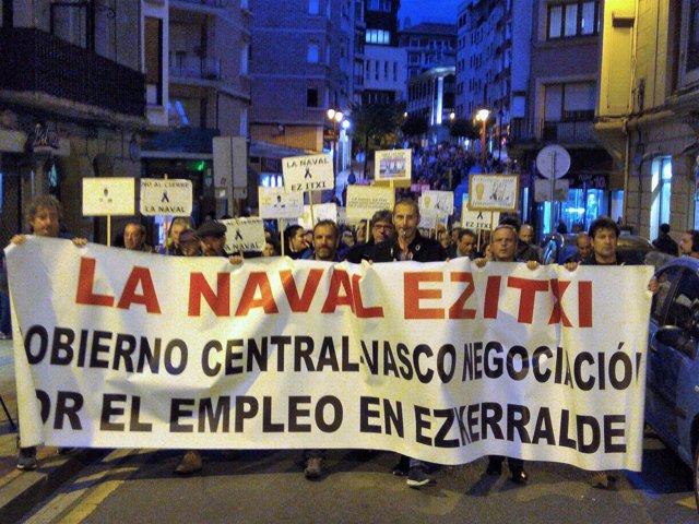 Trabajadores de La Naval se manifiestan en Barakaldo
