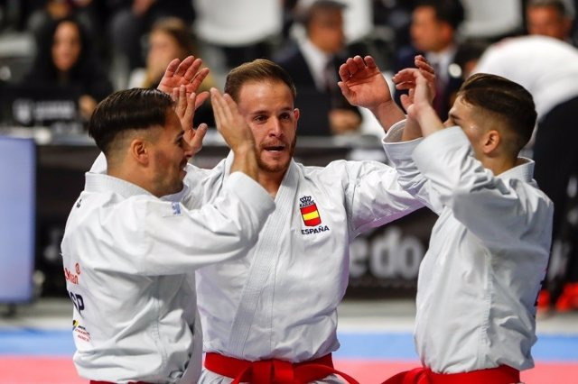 Male team of Spain, during the Karate World Championship
