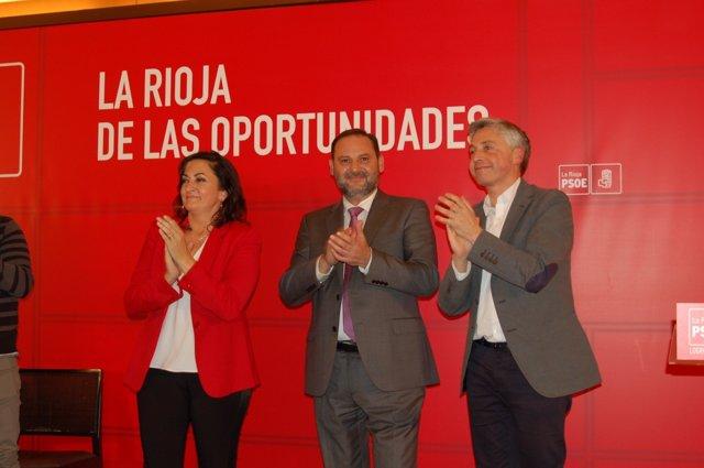 Andreu, Ábalos y Ocón en un acto público en Logroño
