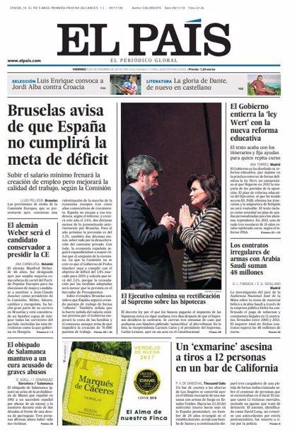 Las portadas de los periódicos del viernes 9 de noviembre del 2018