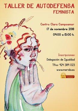 Cartel del taller de autodefensa feminista en Mérida