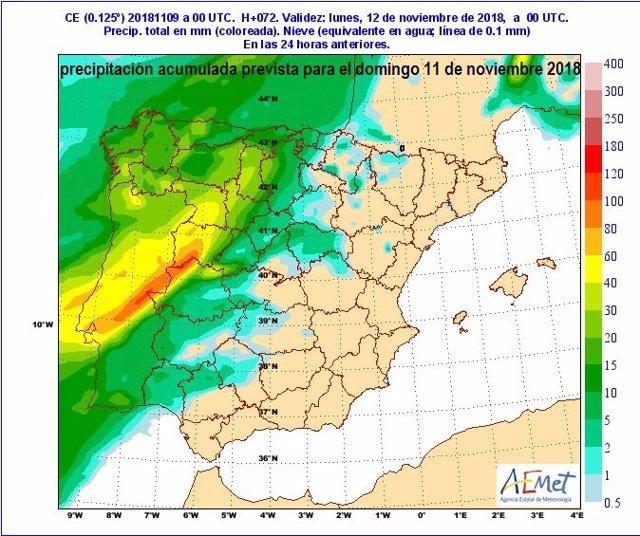 Mapa descriptivo de la previsión de precipitaciones el domingo en CyL