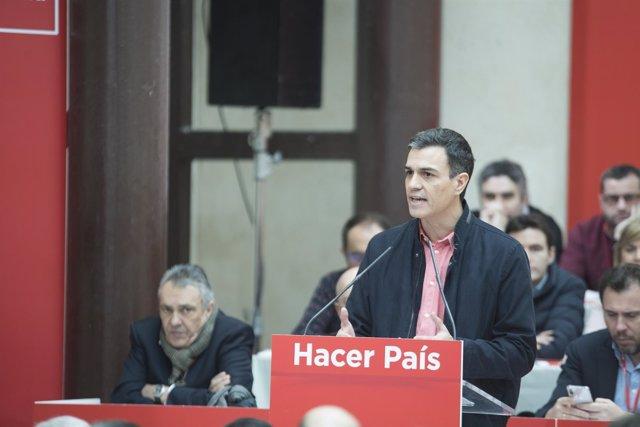 Sánchez en un acto del PSOE