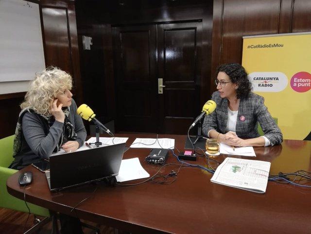 La periodista M.Terribas y la secretaria general de ERC M.Rovira
