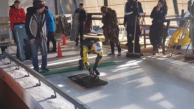 El piloto español de skeleton Ander Mirambell en Whistler (Canadá)