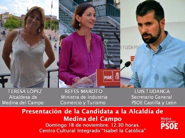 Cartel del acto de prensetación de la candida del PSOE en Medina (Valladolid)