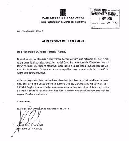 """JxCat pide a Torrent medidas después de que Sierra (Cs) dijera """"supremacista"""" a Borràs en el pleno"""