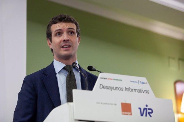 Pablo Casado, en los Desayunos de Europa Press Andalucía
