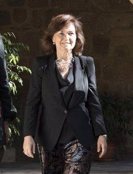 Carmen Calvo este viernes en Mérida