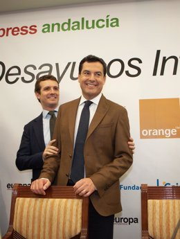 Juanma Moreno y Pablo Casado, en los Desayunos de Europa Press Andalucía
