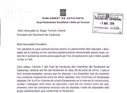 """El PSC acusa a Torra y Batet (JxCat) de hacer discursos que """"pueden incitar al odio"""""""