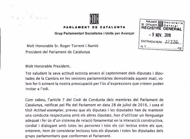 Un escrito del PSC al presidente de la Cámara, Roger Torrent