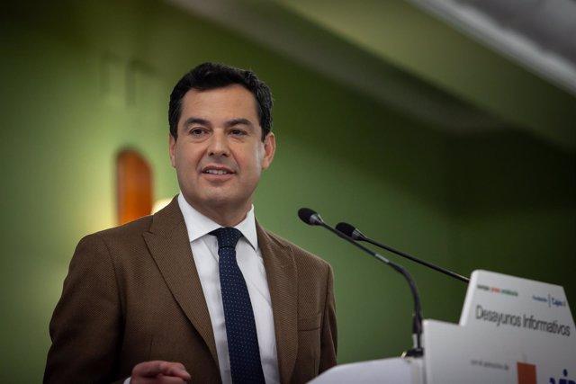 Juanma Moreno, en los Desayunos de Europa Press Andalucía en Jaén