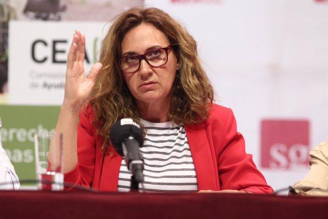 Estrella Galán, secretaria general de CEAR, en la presentación de un informe