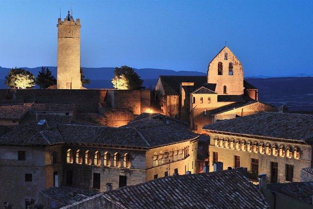 Vista nocturna de Sos del Rey Católico (Zaragoza)