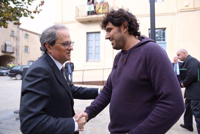 El president de la Generalitat, Q. Torra, i l'alcalde de Verges, Ignasi Sabate