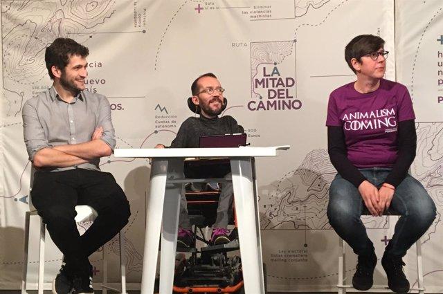 Estañ, Echenique y Lima en el acto de la ruta 'La mitad del camino' en València