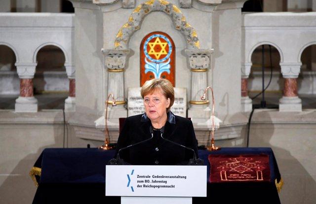 Angela Merkel durante el 80º aniversario de la 'Noche de los Cristales Rotos'